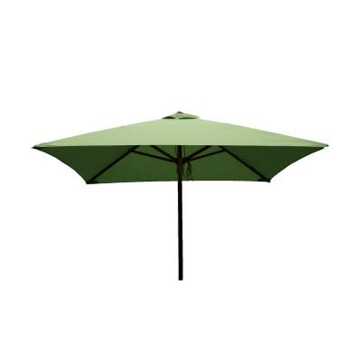 Classic Wood 6.5 ft. Square Patio Umbrella in Lime Polyester