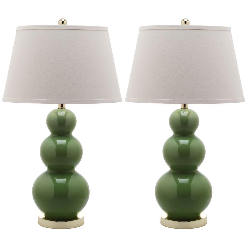 Pamela 27 in. Fern Green Triple Gourd Ceramic Lamp (Set of 2)