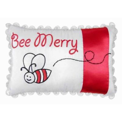 Red 6 in.  x 9 in.  Bee Merry Pillow