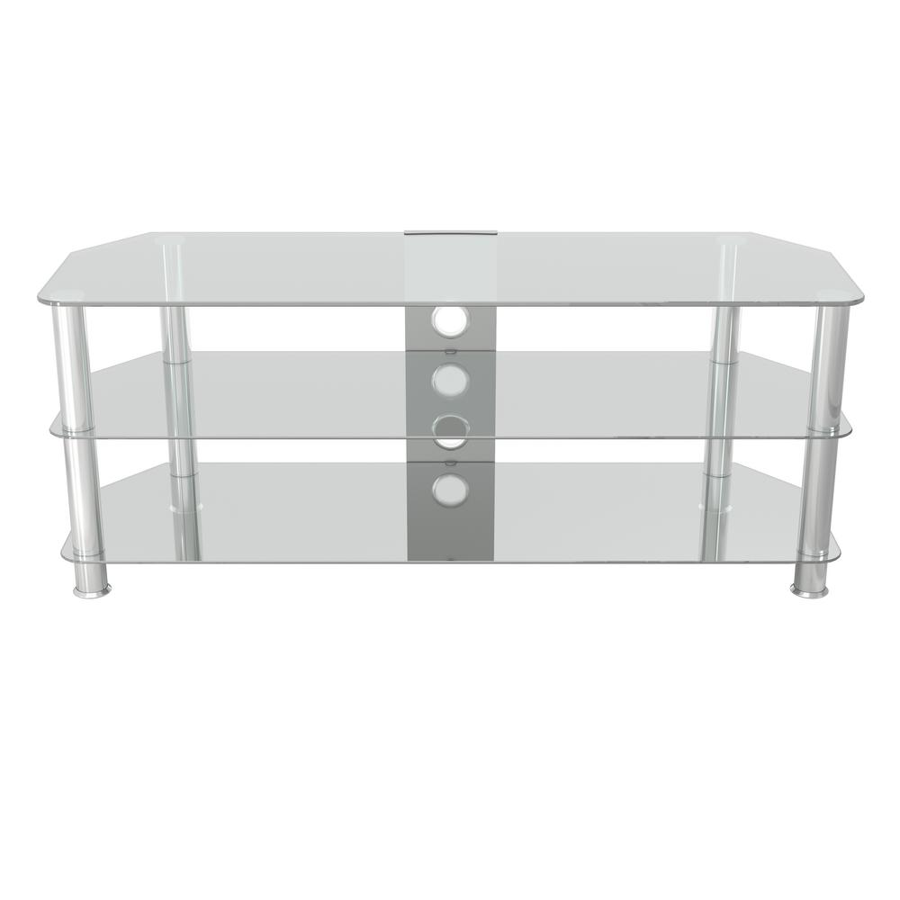 AVF Glass TV Stand for TVs 39 in. to 60 in., Silver The SDC-CC family is a simple, attractive, and versatile series of A/V stands and tables, in multiple sizes. CC indicates that the stands have Chrome legs, and Clear glass shelves. The high quality, easy to assemble stands blend with virtually any decor. The AVF SDC1250CMCC-A supports flat panel TVs up to 60. The clear tempered glass and durable chrome legs modernize any space while the angled corners provide multiple room placement options including into corners to maximize space and viewing angles. The bottom shelves are perfect for AV components such as Digital Receivers, DVRs, Blu-ray, Gaming Consoles, Speakers, Apple TV, Sonos devices, etc. Cable management through the center column delivers a tidy appearance. For TV Sizes: 32, 37, 39, 40, 42, 43, 46, 47, 50, 52, 55, 58, and 60. Color: Silver.