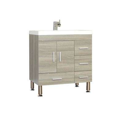 The Modern 29.375 in. W x 19 in. D Bath Vanity in Gray with Acrylic Vanity Top in White with White Basin