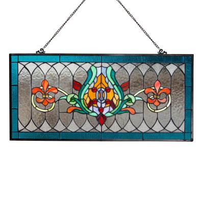 Blue Fleur De Lis Stained Glass Pub Window Panel