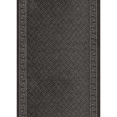Greek Key Charcoal 2 ft. 2 in. x Your Choice Length Roll Runner