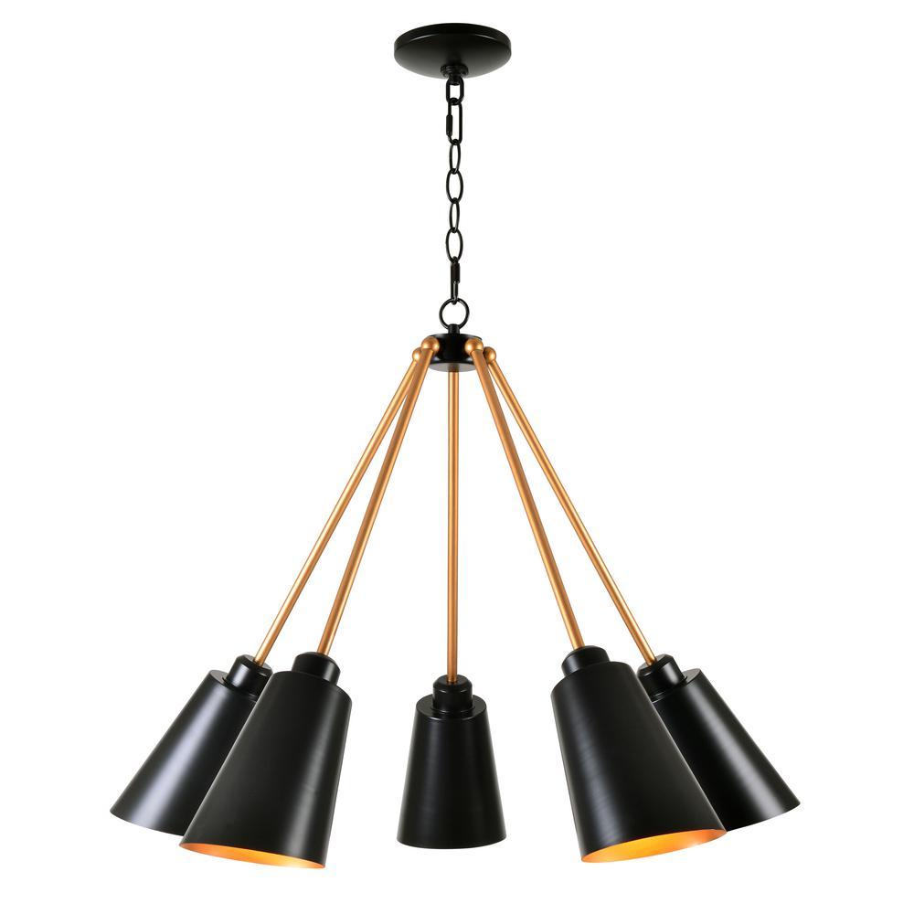 Alvar 5-Light Black Chandelier with Black Shade