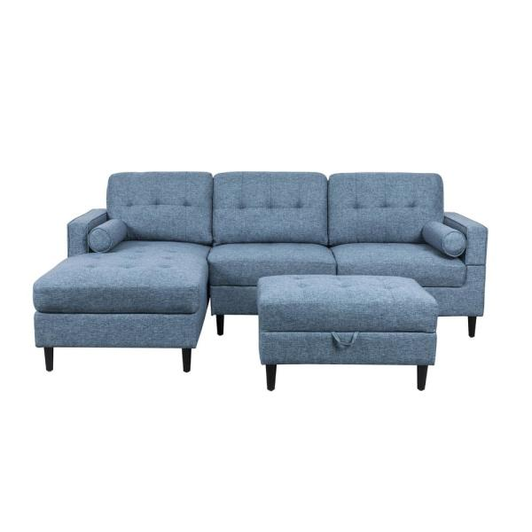 Swell Noble House Florentia 3 Piece Navy Blue Tweed Sectional Sofa Download Free Architecture Designs Scobabritishbridgeorg