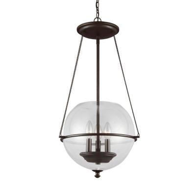Havenwood 14.5 in. W x 26.75 in. H 3-Light Autumn Bronze Mid-Century Modern Small Globe Indoor Pendant