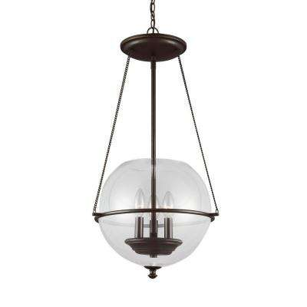 Havenwood 14.5 in. W x 26.75 in. H 3-Light Autumn Bronze Mid-Century Modern Small Globe Indoor Pendant