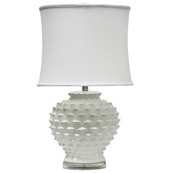 28 in. Atmore White Table Lamp with White Softback Fabric Shade