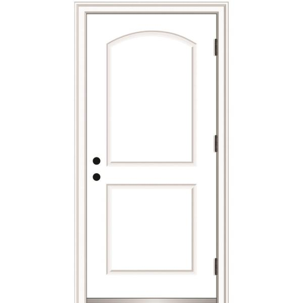 36 in. x 80 in. Severe Weather Left-Hand Outswing 2-Panel Arch Primed Fiberglass Smooth Prehung Front Door