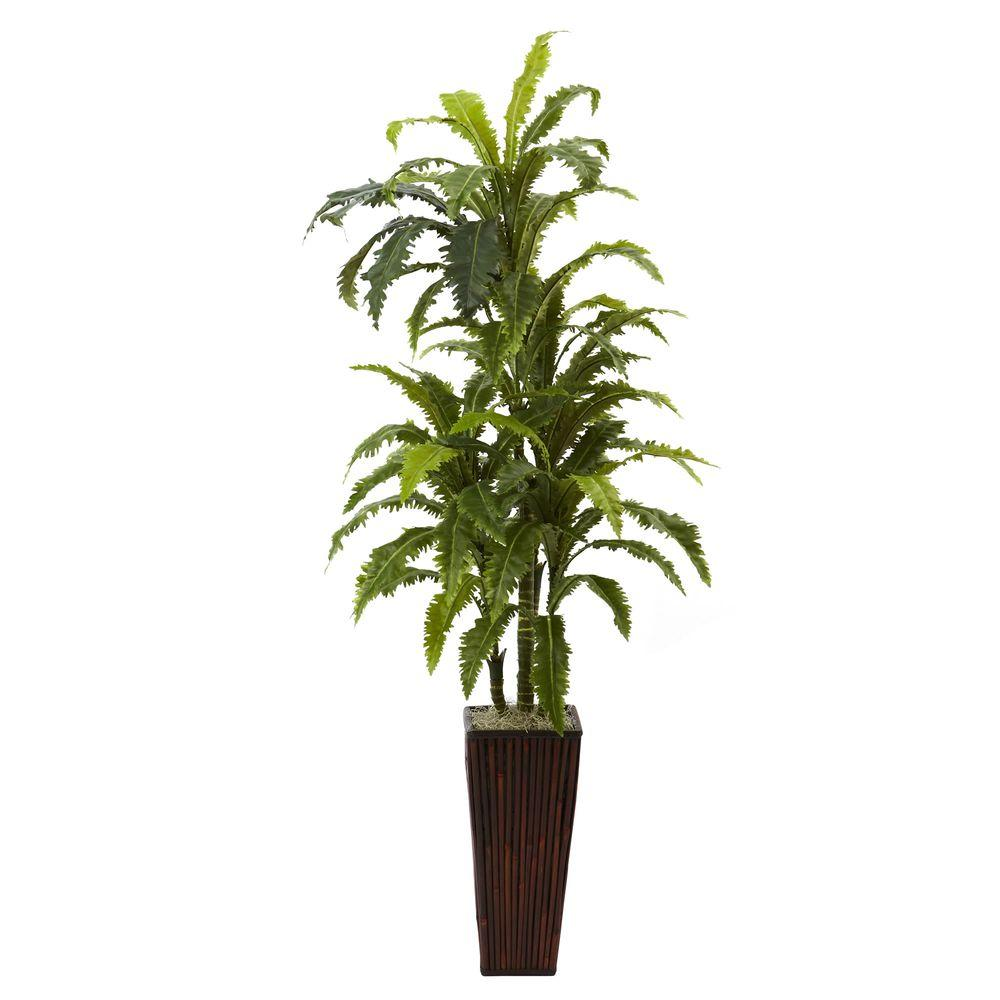 Nearly Natural Margarintum with Bamboo Planter