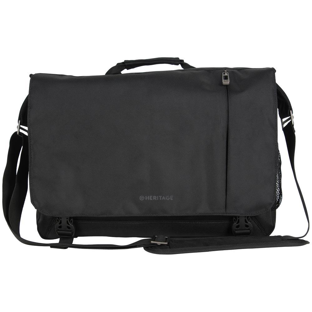 Urban Traveler Black 1680D Polyester Multi-Compartment 15.6 in. Computer Laptop Bag / Business Messenger