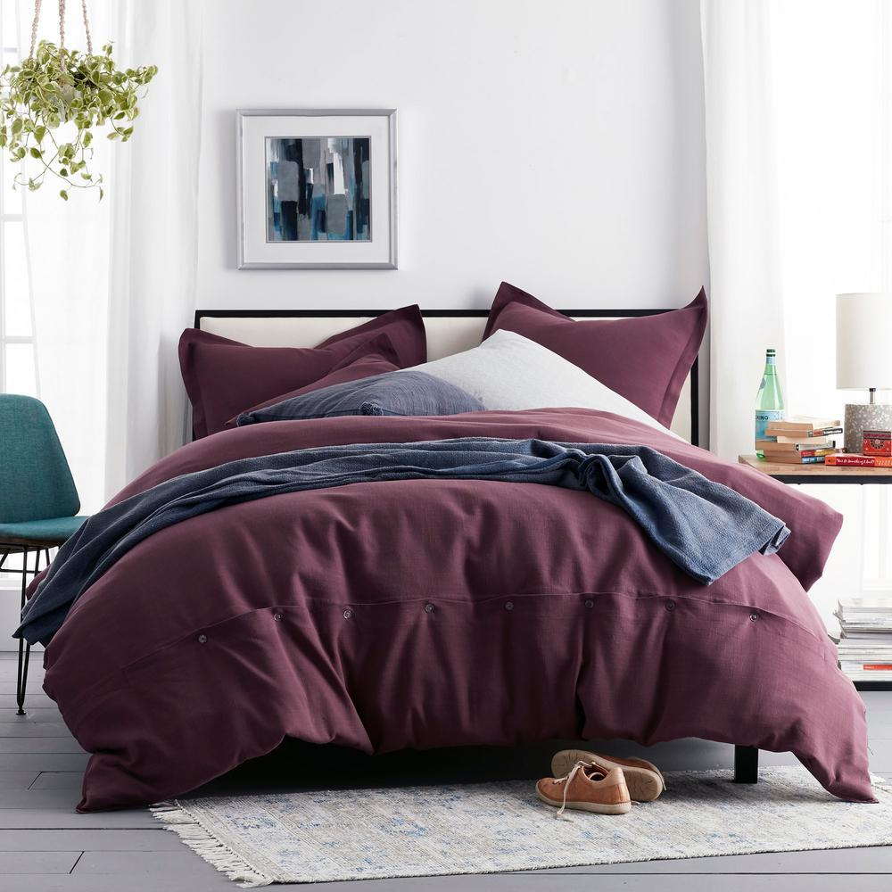 Asher 3-Piece Claret Solid Cotton Queen Duvet Cover Set