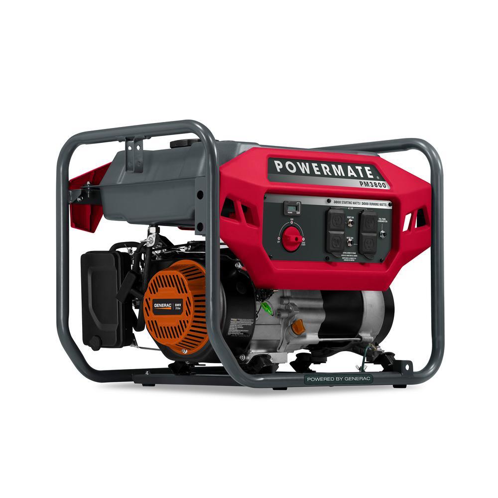 Running-Watt 3,000-Watt Manual-Start Gasoline-Powered Portable Generator, 49 ST/CSA