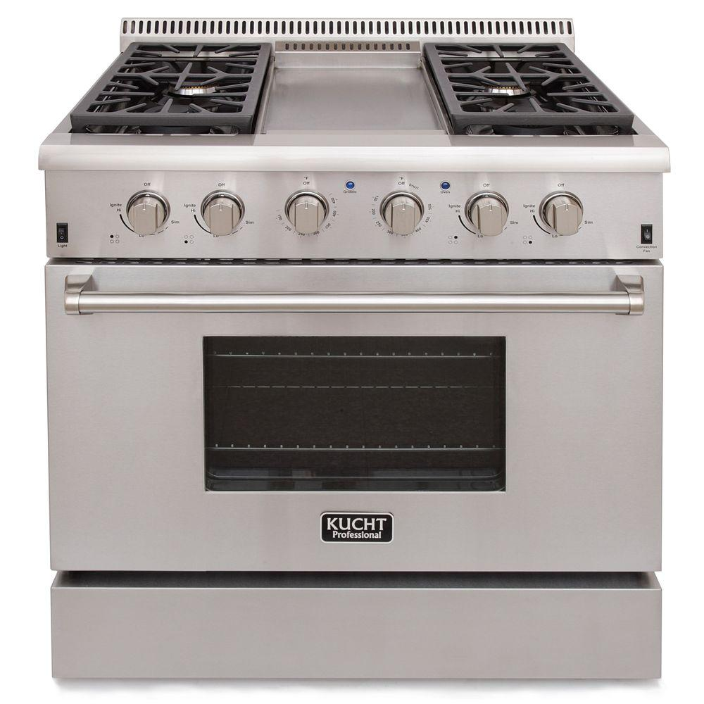 Kucht Pro Style 36 In 5 2 Cu Ft Natural Gas Range With Sealed Burners Griddle And Convection Oven Stainless Steel