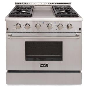 Click here to buy Kucht Pro-Style 36 inch 5.2 cu. ft. Natural Gas Range with Sealed Burners, Griddle and Convection Oven in Stainless Steel by Kucht.