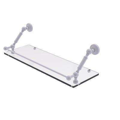 Waverly Place 24 in. Floating Glass Shelf with Gallery Rail in Matte White