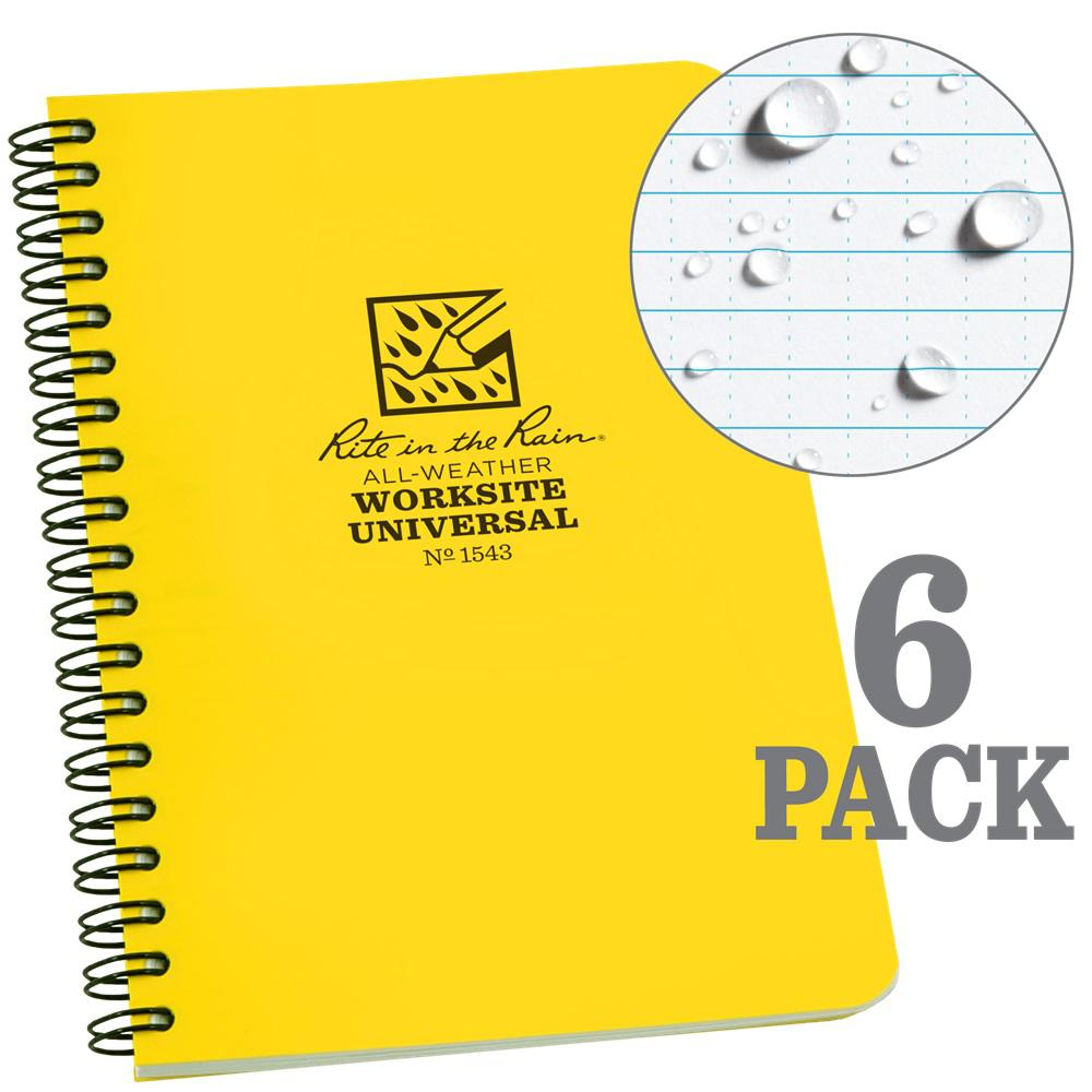 RiteintheRain Rite in the Rain 4-5/8 in. x 7 in. Side Spiral Contractors Notebook, Yellow (6-Pack)