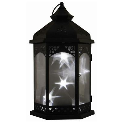 Baltimore Star 16 in. Black Integrated LED Lantern with Timer Candle