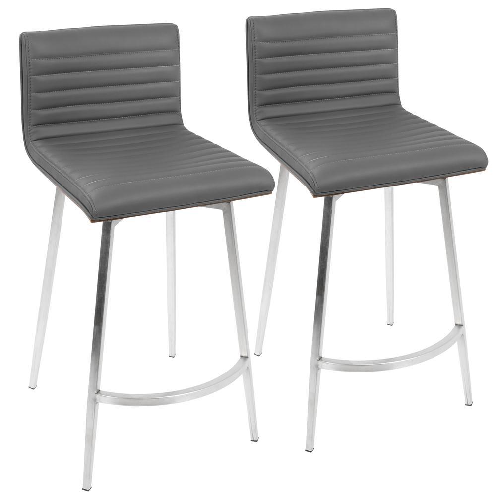 Fine Lumisource Mason 26 In Grey Faux Leather Swivel Counter Frankydiablos Diy Chair Ideas Frankydiabloscom