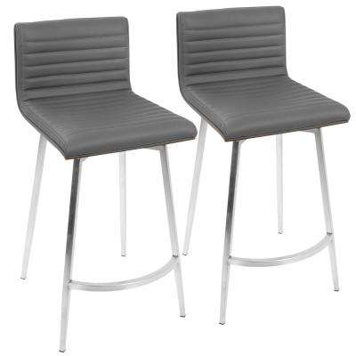 Mason 26 in. Grey Faux Leather Swivel Counter Stool (Set of 2)