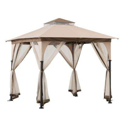 Gianna 8 ft. x 8 ft. Tan and Brown 2-Tone Steel Gazebo with Mosquito Netting