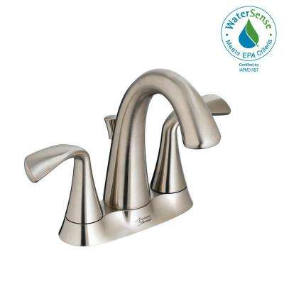 Fluent 4 in. Centerset 2-Handle Bathroom Faucet with Metal Speed Connect Drain in Brushed Nickel