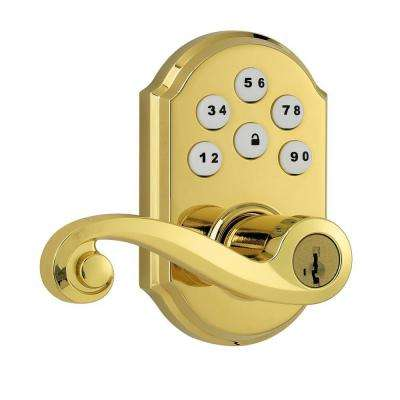 SmartCode Polished Brass Electronic Lido Lever Featuring SmartKey