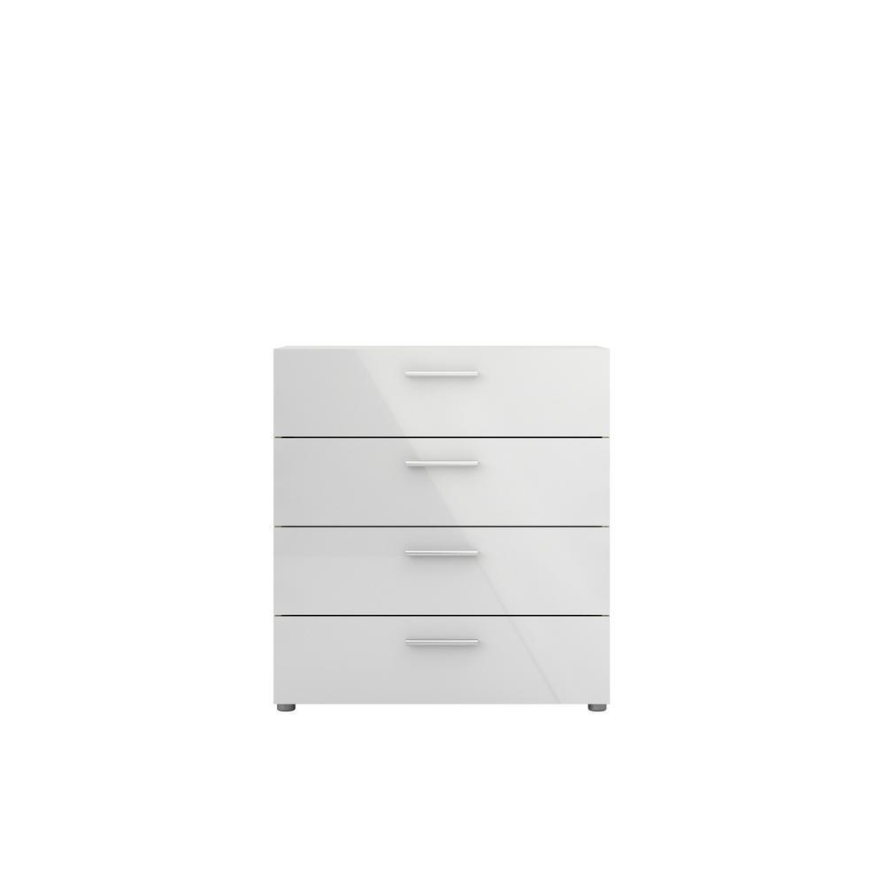 Austin 4-Drawer Oak Structure/White High Gloss Chest of Drawers