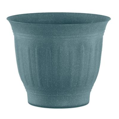 Colonnade 8 in. x 7.5 in. Forest Green Wood Resin Plastic Planter