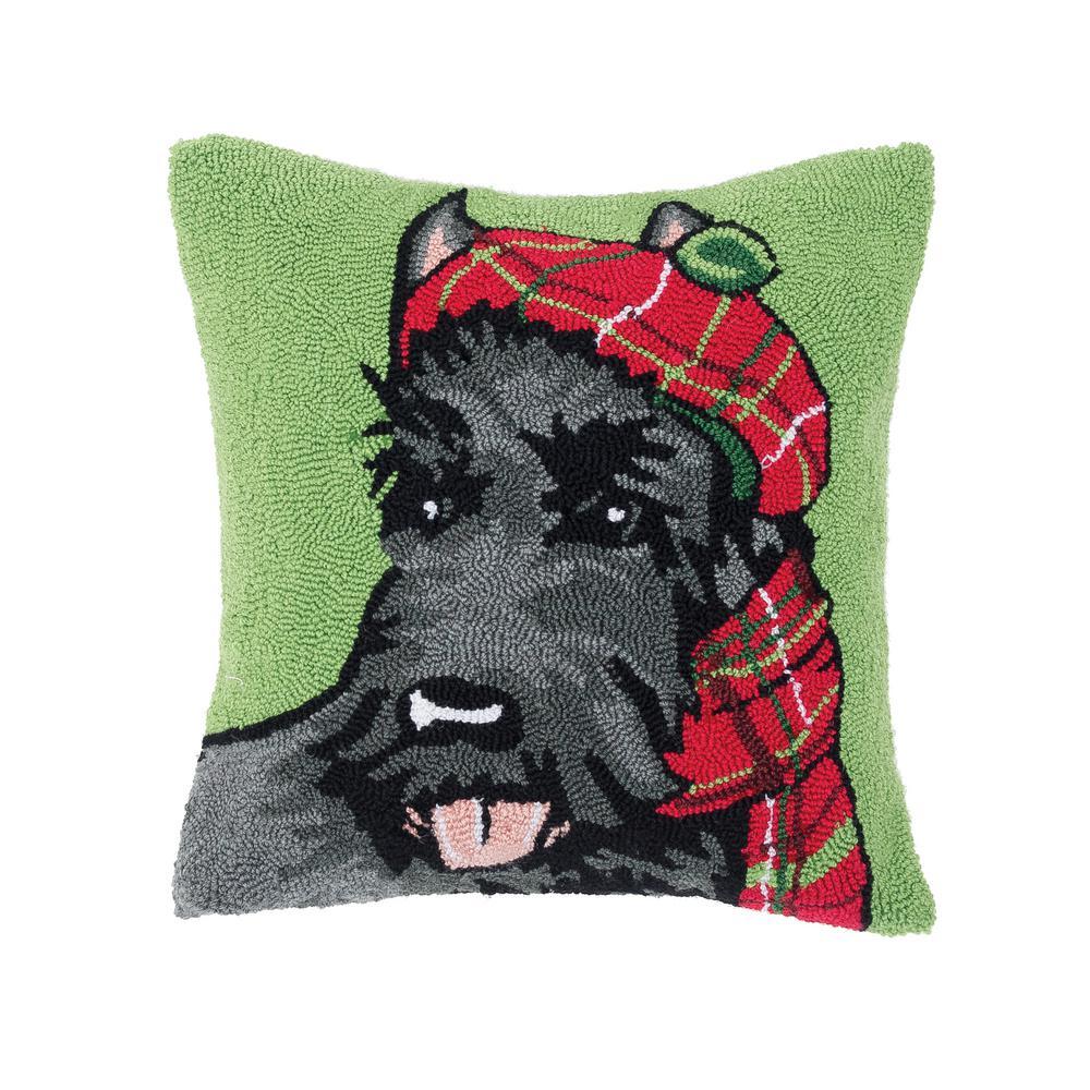 Scottish Terrier Green Pillow 18 in. x 18 in.