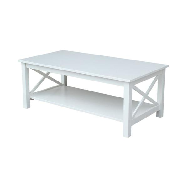 Hampton 46 in. Bright White Large Rectangle Wood Coffee Table with Shelf