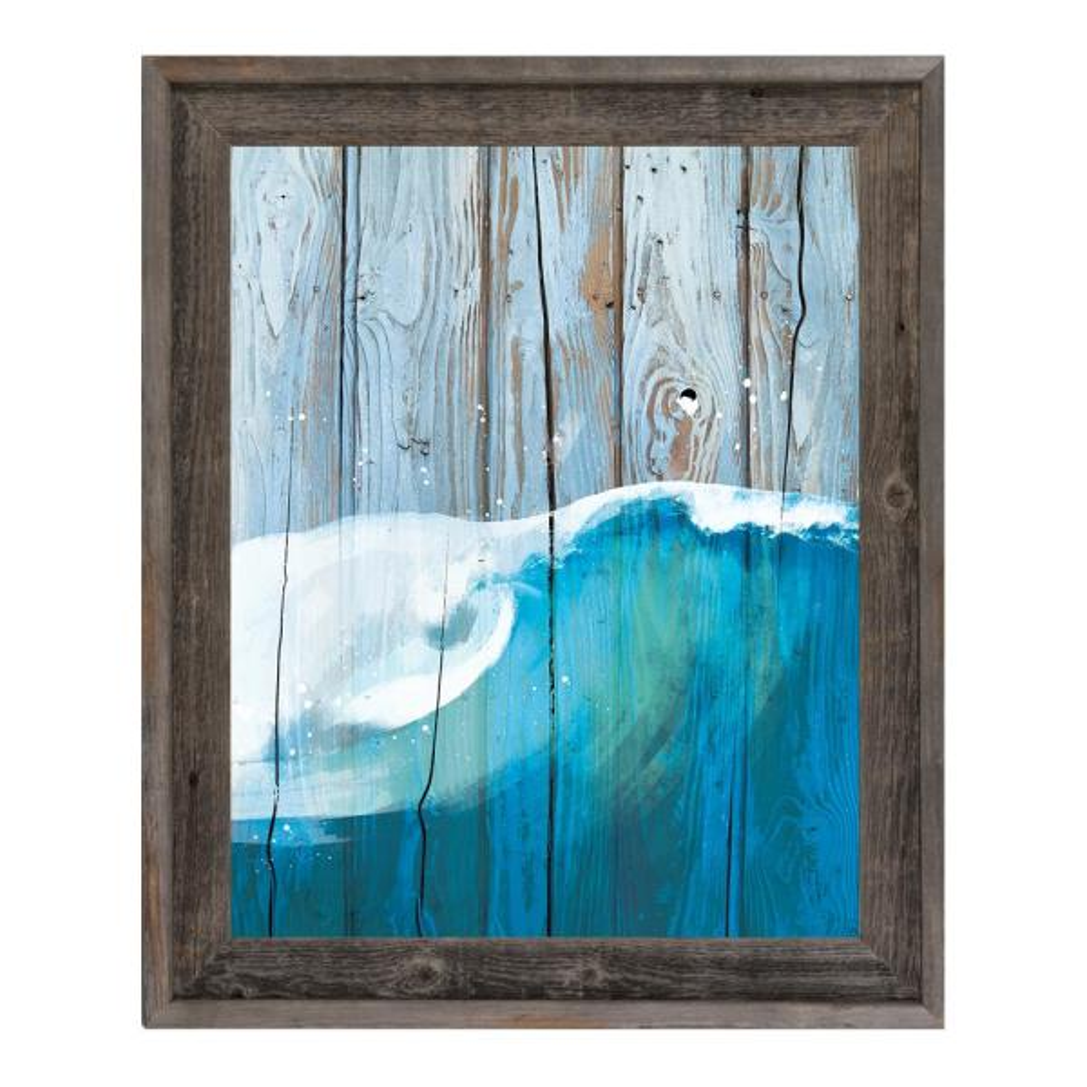 16 In X 20 In Rustic Wave Blue Barnwood Framed Wall Art Print