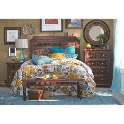Maharaja 1-Drawer walnut Nightstand