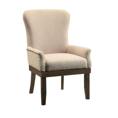 Beige and Brown Wooden Arm Chair with Wing Back and Nailhead Trims