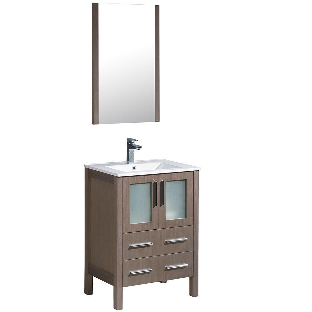 Fresca livello 24 inch black bathroom - Torino 24 In Vanity In Gray Oak With Ceramic Vanity Top