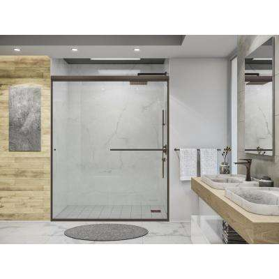 Distinctive 60 in. x 70.5 in. Semi-Frameless Sliding Shower Door in Oil Rubbed Bronze with Towel Bar and Knob Pull