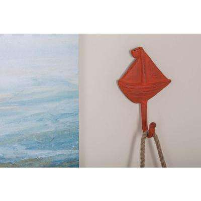 5 in. x 7 in. Coastal-Living Iron Sailboat Wall Hooks in Distressed Finish (3-Pack)