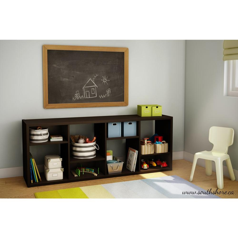 South Shore Reveal 8-Compartment Laminate Shelving Unit in Chocolate
