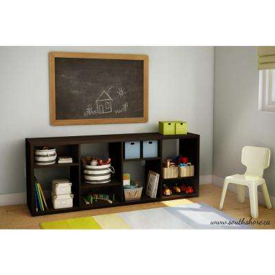 Reveal 8-Compartment Wood Laminate Shelving Unit in Chocolate