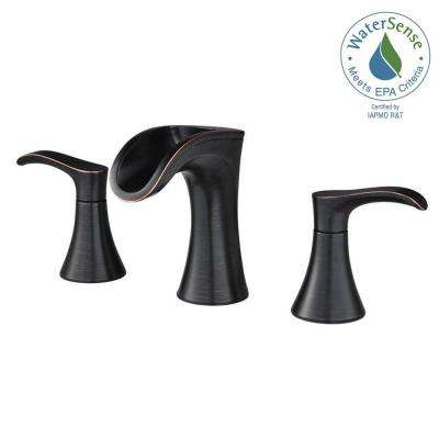 Brea 8 in. Widespread 2-Handle Waterfall Bathroom Faucet in Tuscan Bronze