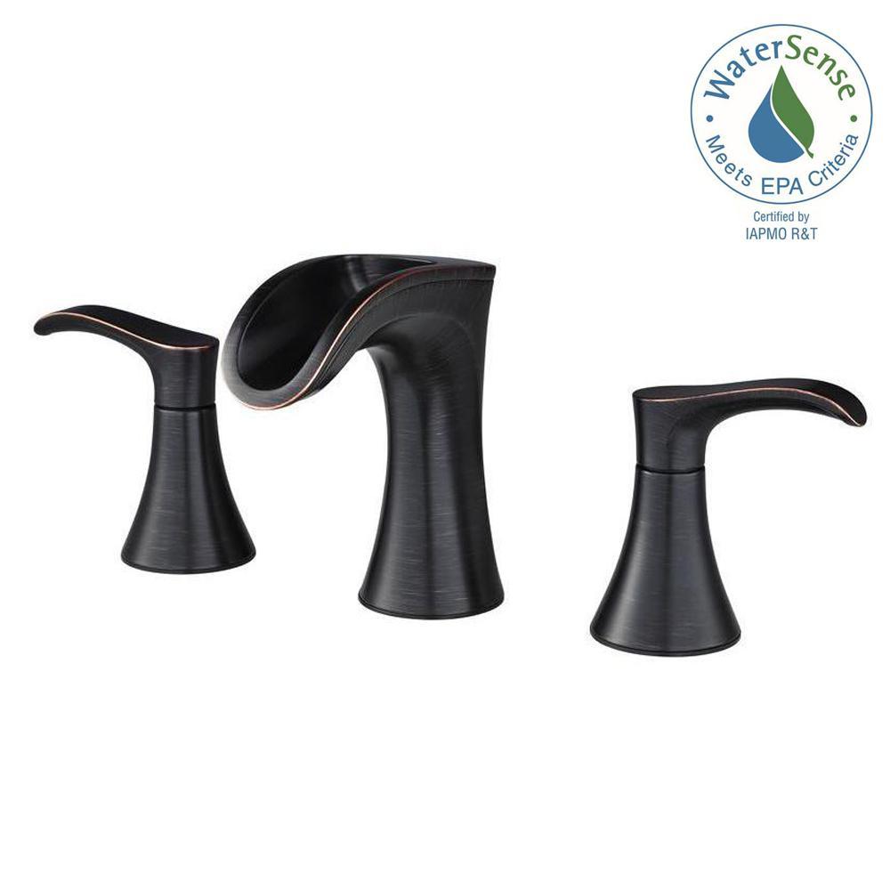Widespread 2 Handle Waterfall Bathroom Faucet In Tuscan Bronze