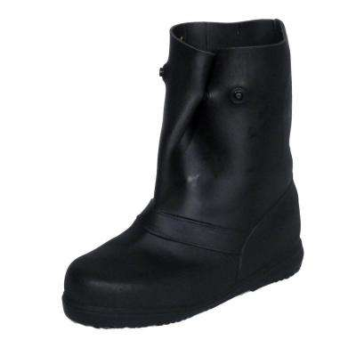 12 in. Men Large Black Rubber Over-the-Shoe Boots, Size 10.5-11.5