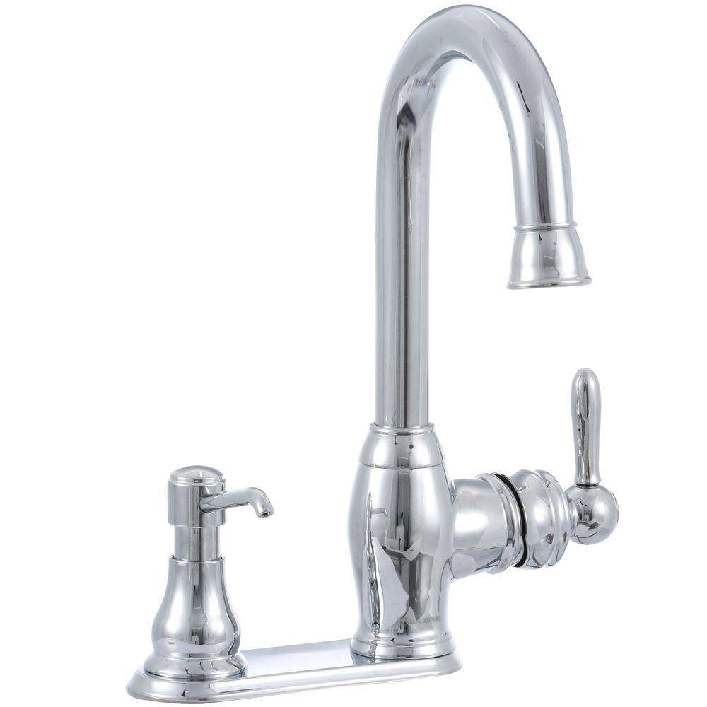 Glacier Bay Newbury Single Handle Bar Faucet In Chrome With Soap Dispenser Fs1a0008cp The Home