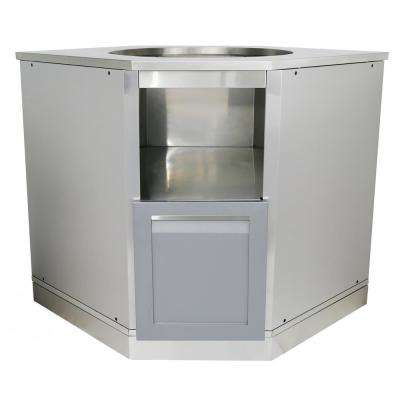 Stainless Steel Insert Kamado Grill 36x34x34 in. Outdoor Kitchen Cabinet Base with Powder Coated Door in Gray