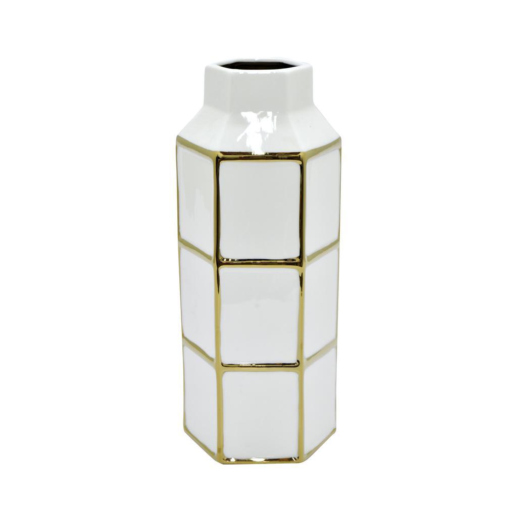 White and Gold Porcelain Decorative Vase