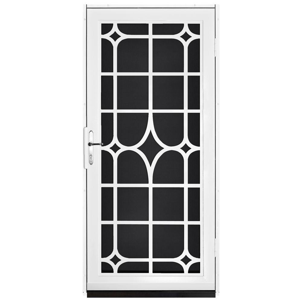 null 36 in. x 80 in. Lexington White Surface Mount Steel Security Door with Black Perforated Screen and Nickel Hardware