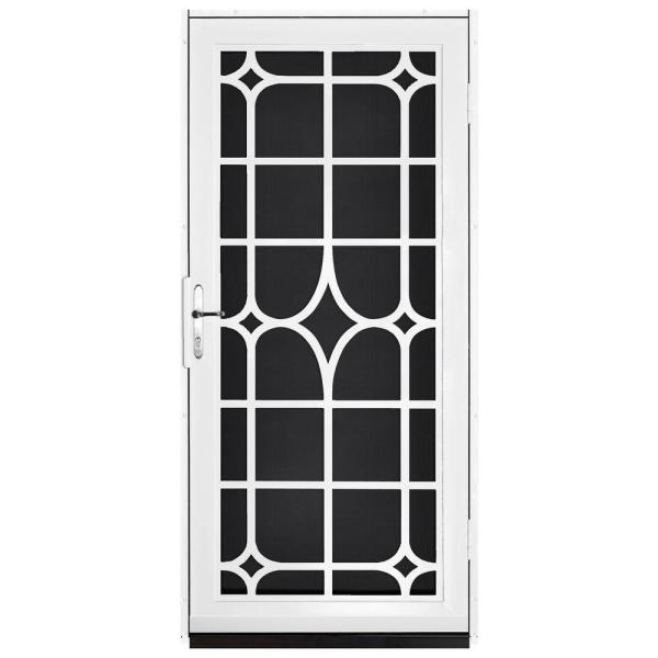 36 in. x 80 in. Lexington White Surface Mount Steel Security Door with Black Perforated Screen and Nickel Hardware
