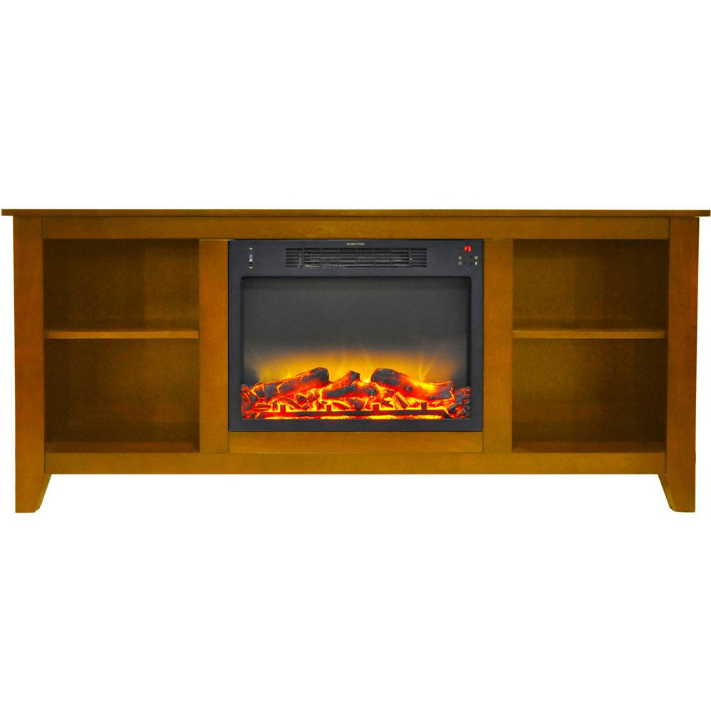 Bel Air 63 in. Electric Fireplace and Entertainment Stand in Teak