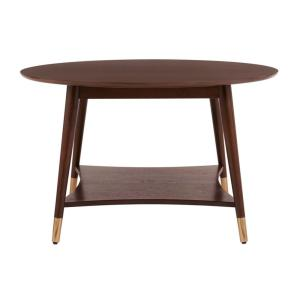 StyleWell Ramsey Round Wood Coffee Table with Brass Caps
