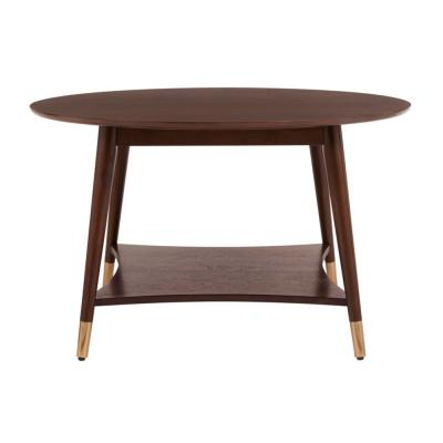 Ramsey Round Sable Brown Wood Coffee Table with Brass Caps (31.89 in. W x 18.9 in. H)